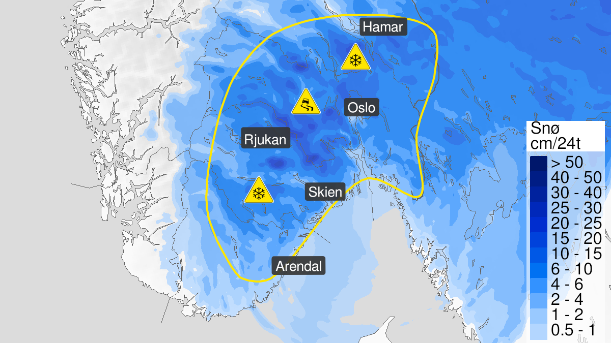 Kart over snø, gult nivå, Østafjells, 11 April 18:00 UTC til 13 April 02:00 UTC.