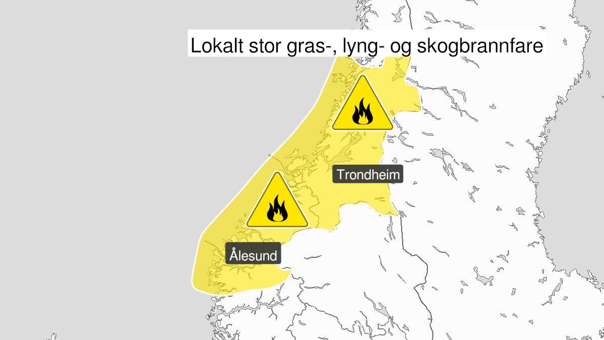 Kart over skogbrannfare, gult nivå, Fjordane, Møre og Romsdal og Trøndelag, 10 June 08:00 UTC til 11 June 21:00 UTC.