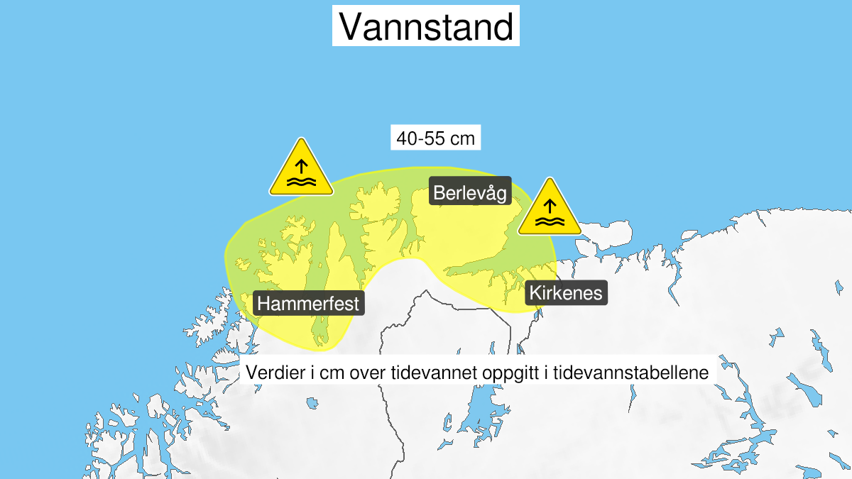 Map of high water level, yellow level, Kyst- and fjordstroekene i Finnmark, 21 September 15:00 UTC to 22 September 08:00 UTC.