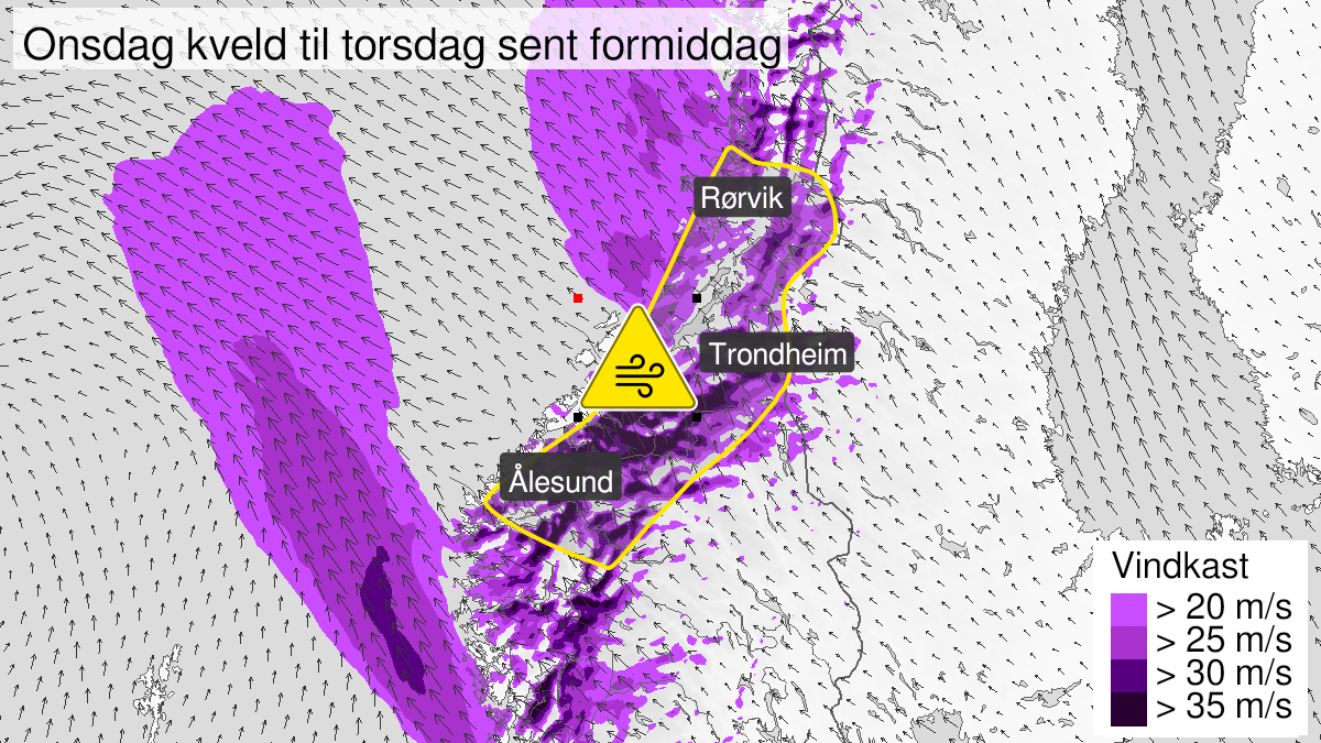 Map of strong wind gusts, yellow level, Moere and Romsdal and Troendelag, 10 March 18:00 UTC to 11 March 11:00 UTC.