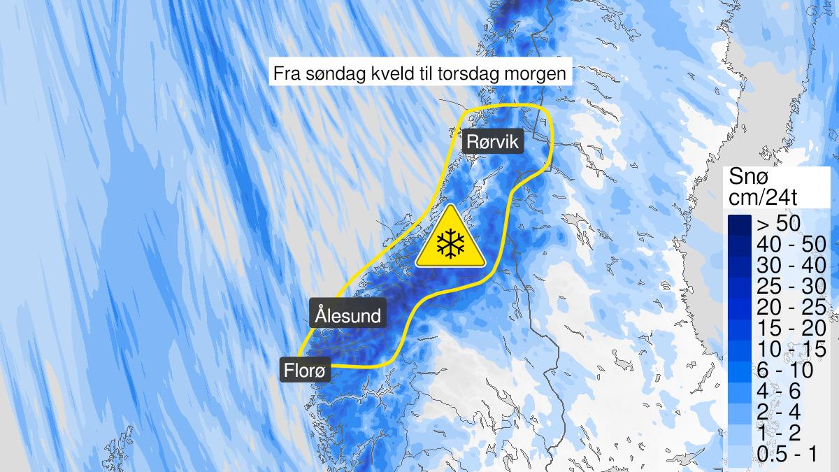 Kart over snø, gult nivå, Nordfjord, Møre og Romsdal og Trøndelag, 04 April 16:00 UTC til 08 April 05:00 UTC.