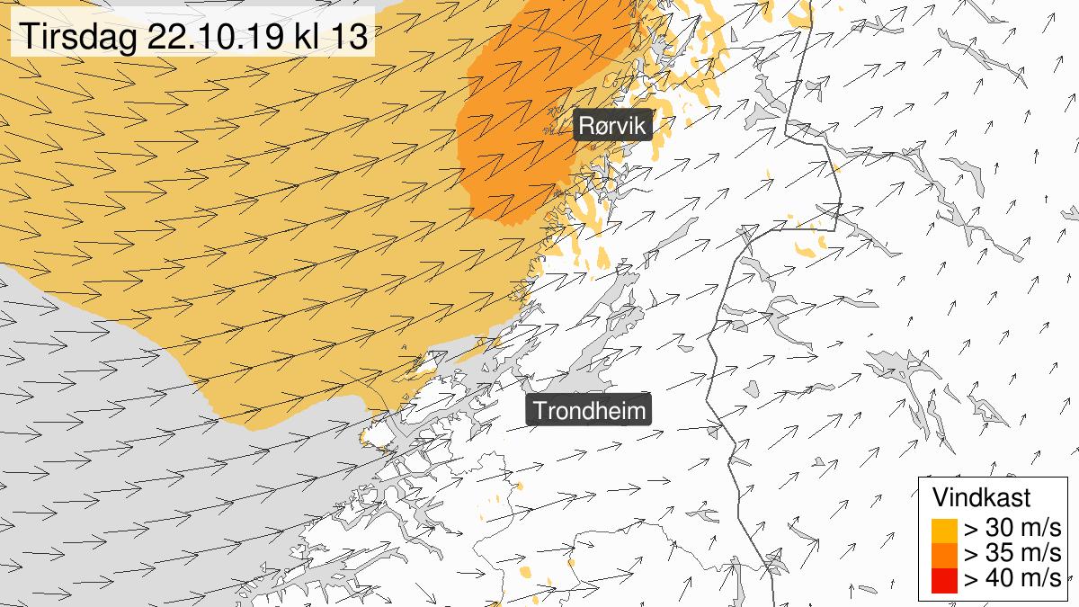 Kraftige vindkast, gult nivå, Trøndelag, 22 October 04:00 UTC til 22 October 17:00 UTC.