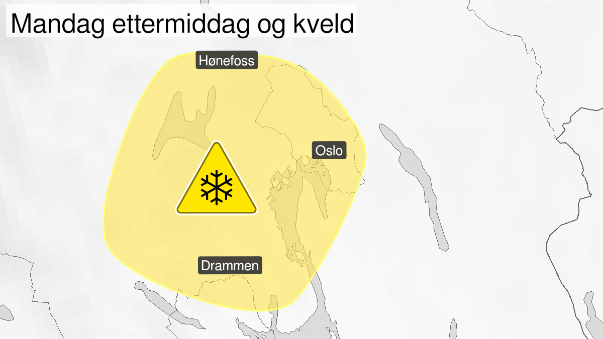 Map of snow, yellow level, Oslo, Akershus and Buskerud, 18 January 12:00 UTC to 18 January 21:00 UTC.