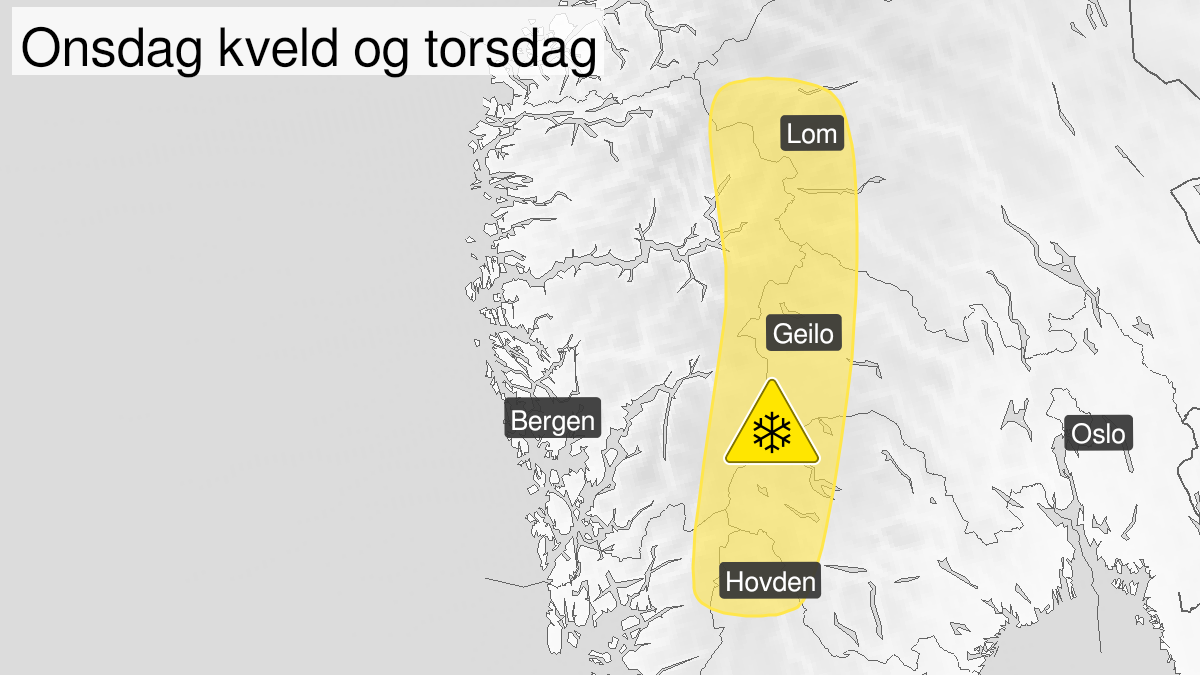 Kart over kraftig snøfokk, gult nivå, Langfjella, 10 March 18:00 UTC til 11 March 18:00 UTC.