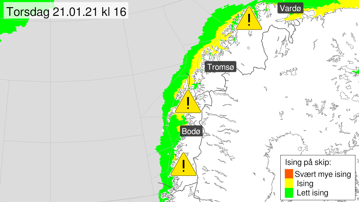 Map of moderate icing on ships, yellow level, Helgeland, Salten, Ofoten, Lofoten og Vesterålen, 21 January 09:00 UTC to 22 January 23:00 UTC.