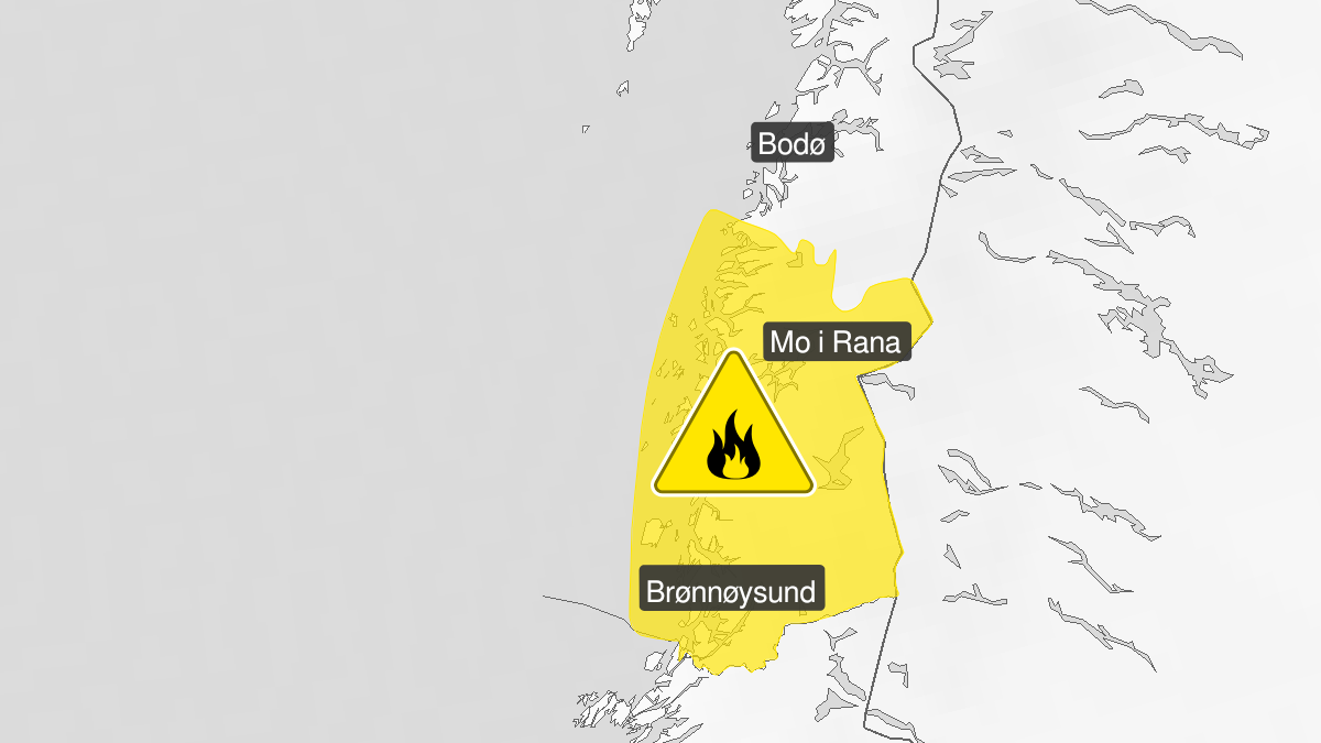 Map of forest fire danger expected, yellow level, Helgeland, 22 June 10:00 UTC to 25 June 00:00 UTC.
