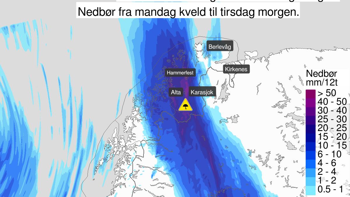 Mye regn, gult nivå, Vest-Finnmark med Vidda, 02 September 18:00 UTC til 03 September 06:00 UTC.