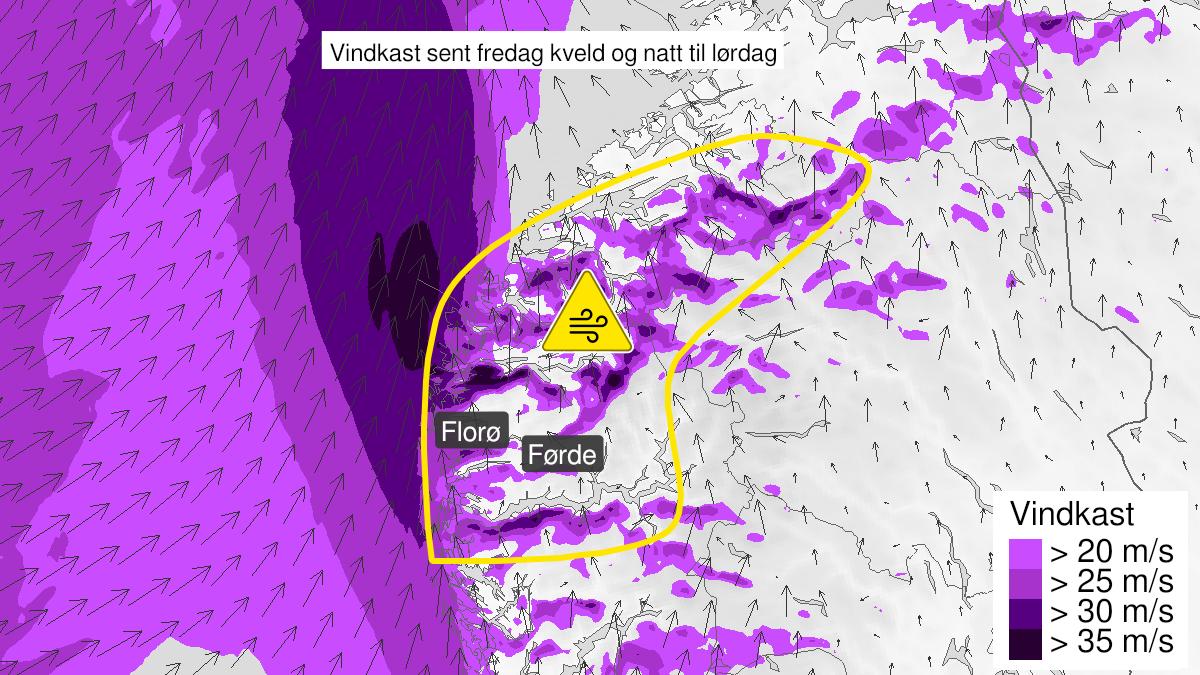 Map of strong wind gusts, yellow level, Sogn, Fjordane og Møre og Romsdal, 20 November 20:00 UTC to 21 November 04:00 UTC.