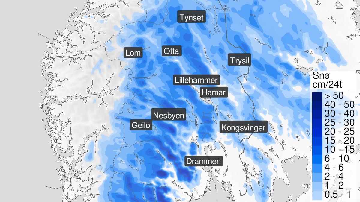 Kart over snø, gult nivå, Innlandet og Buskerud, 04 May 06:00 UTC til 05 May 15:00 UTC.