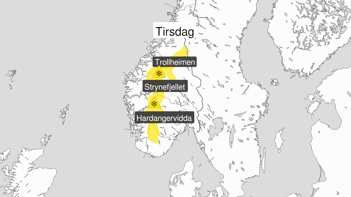 Map of blowing snow ongoing, yellow level, Fjellet i Soer-Norge, 12 January 10:00 UTC to 12 January 21:00 UTC.