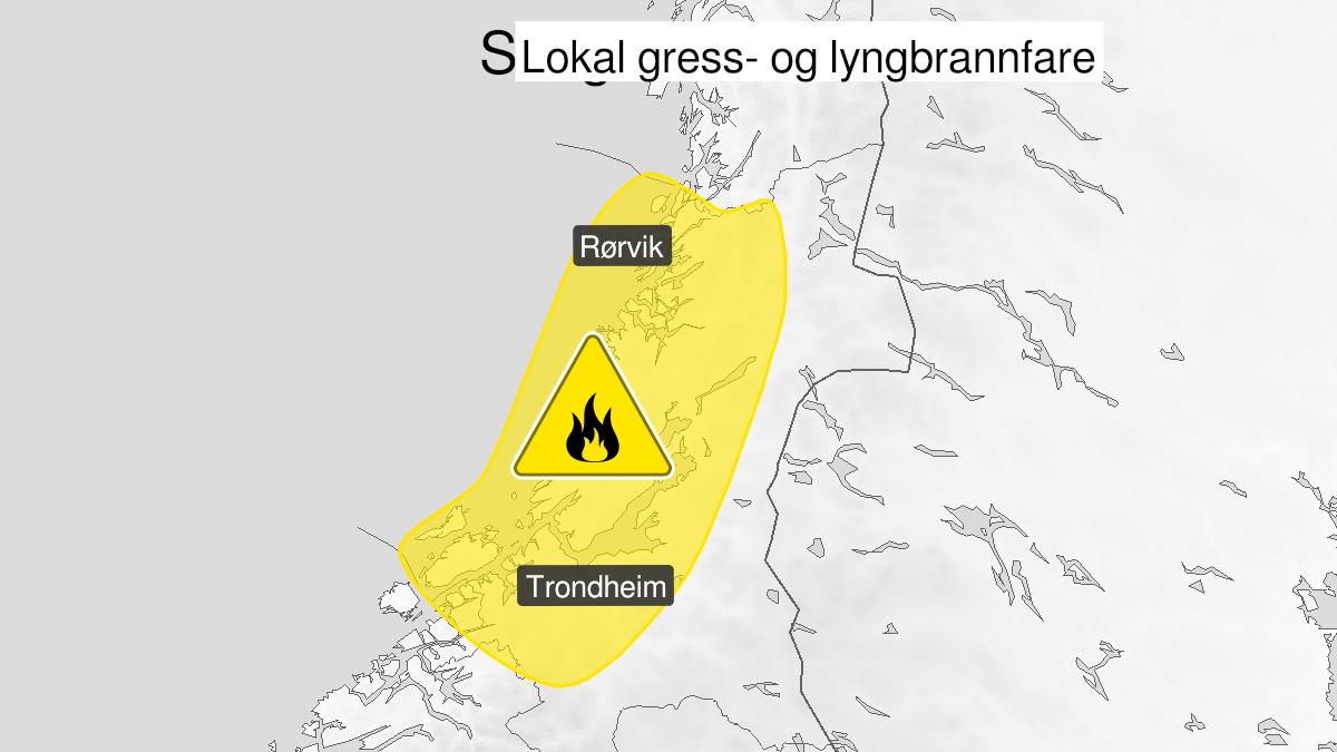 Kart over skogbrannfare, gult nivå, Trøndelag, 14 May 09:00 UTC til 17 May 22:00 UTC.