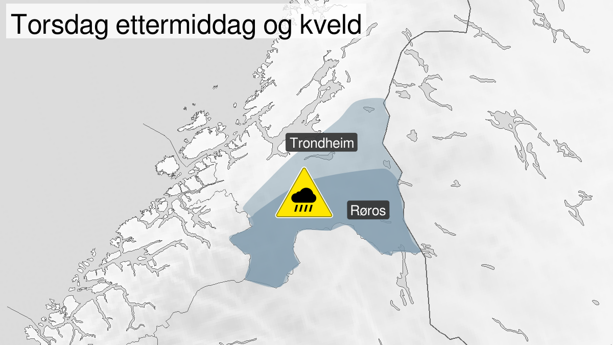 Map of heavy rainshowers, yellow level, Southern and inner parts of Trøndelag, 13 August 12:00 UTC to 13 August 21:00 UTC.