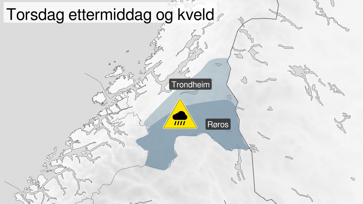 Kart over styrtregn, gult nivå, Sørlige og indre deler av Trøndelag, 13 August 12:00 UTC til 13 August 21:00 UTC.