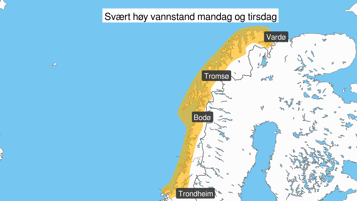 Extreme weather Elsa: Very high water level, orange level, Trøndelag, 10 February 10:00 UTC to 11 February 02:00 UTC.