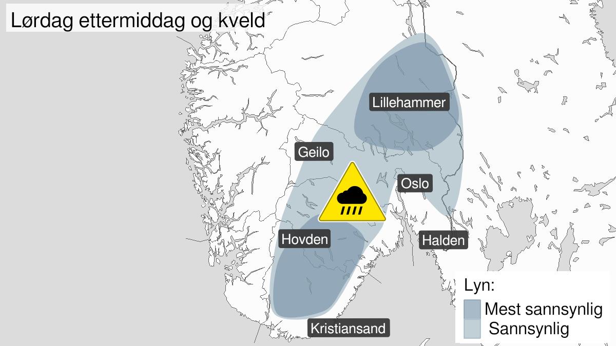 Map of heavy rainshowers, yellow level, Agder, Telemark og Buskerud og Akershus, Oppland og Hedmark, 26 June 14:00 UTC to 26 June 23:00 UTC.