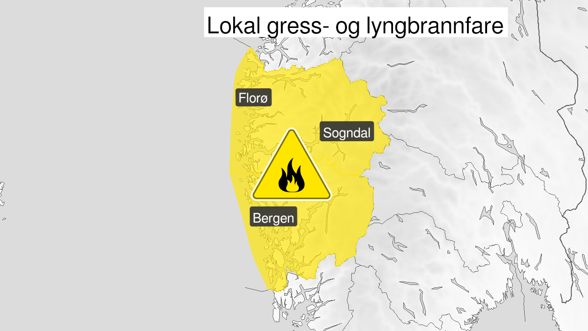 Map of forest fire danger expected, yellow level, Vestland, 13 May 06:00 UTC to 15 May 22:00 UTC.