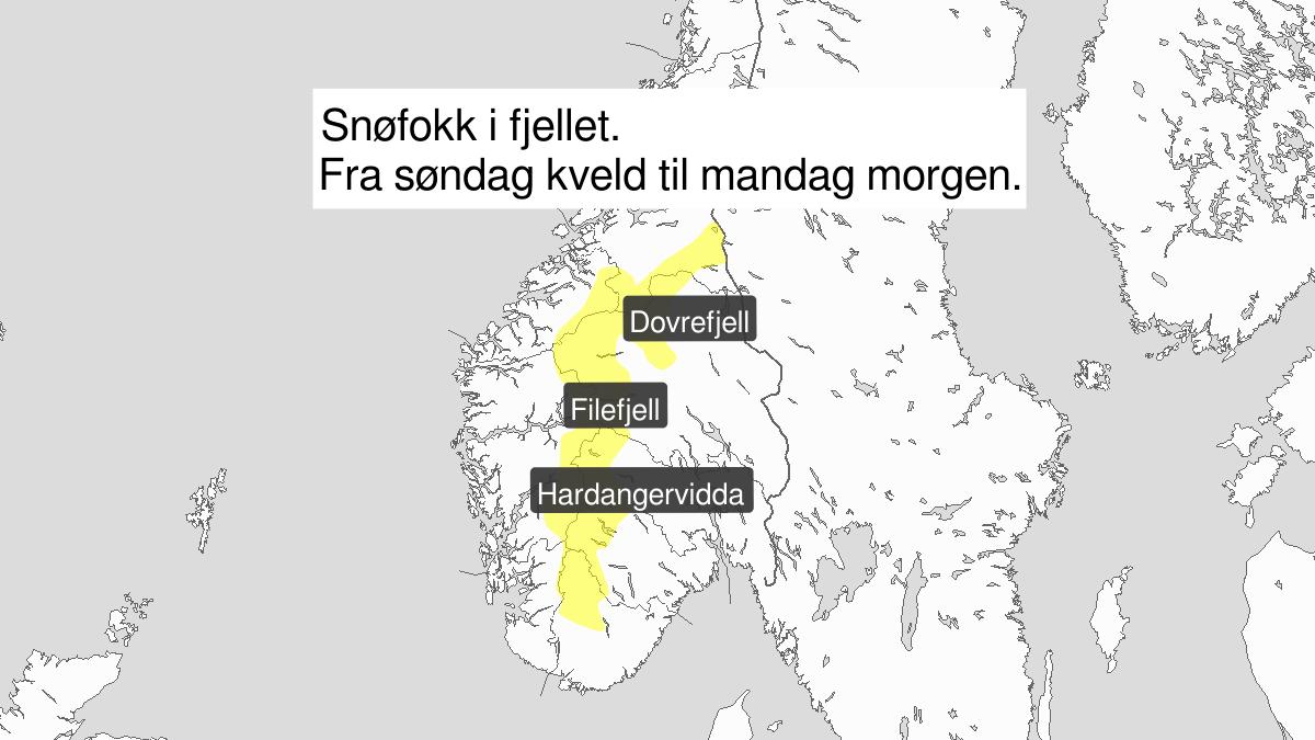Kraftig snøfokk, gult nivå, Fjellet i Sør-Norge, 19 January 18:00 UTC til 20 January 06:00 UTC.