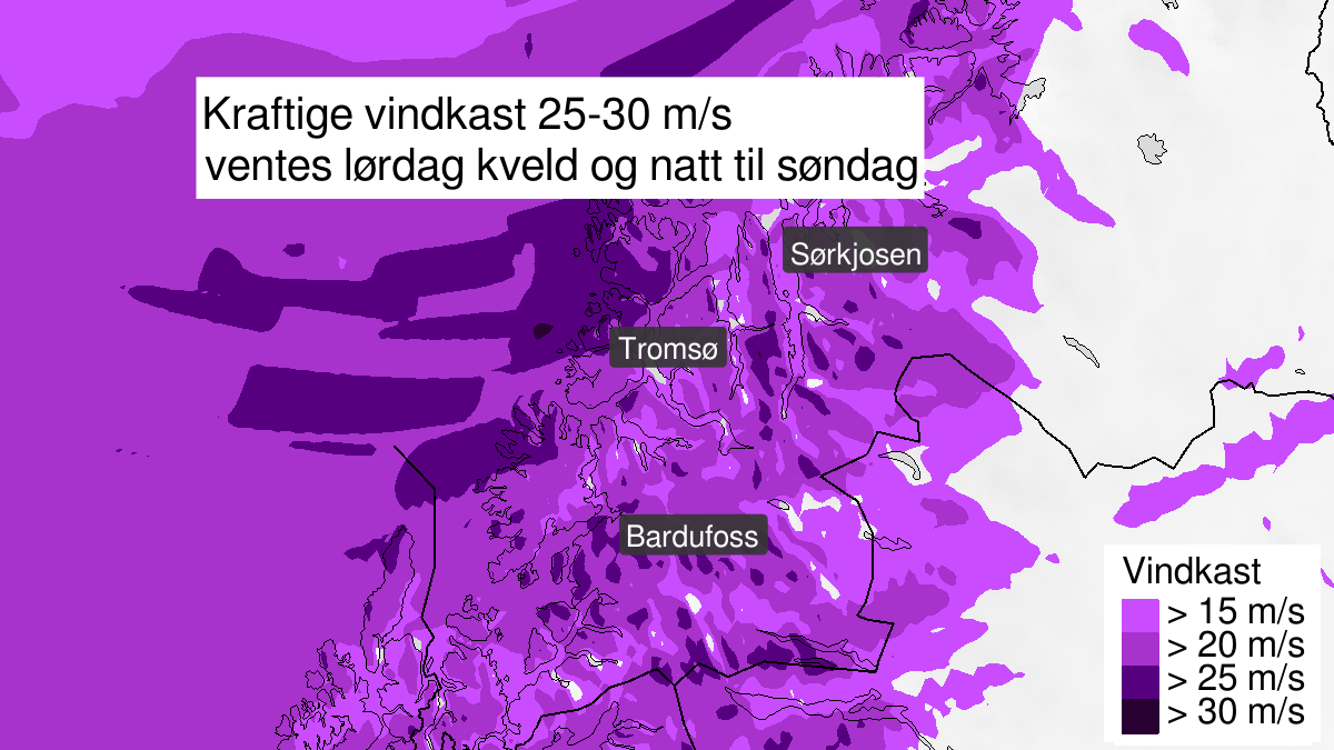 Map of strong wind gusts, yellow level, Troms, 15 August 20:00 UTC to 16 August 01:00 UTC.