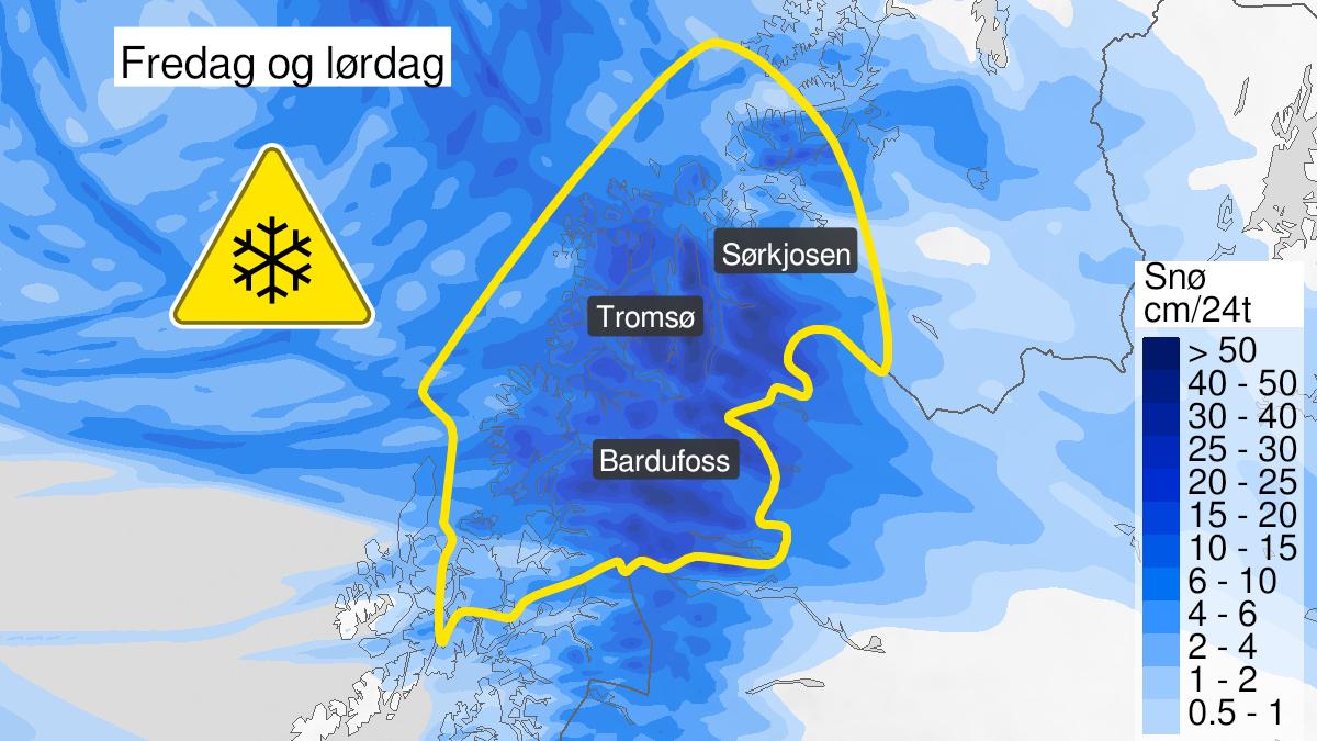 Kart over snø, gult nivå, Troms, 11 February 23:00 UTC til 13 February 15:00 UTC.