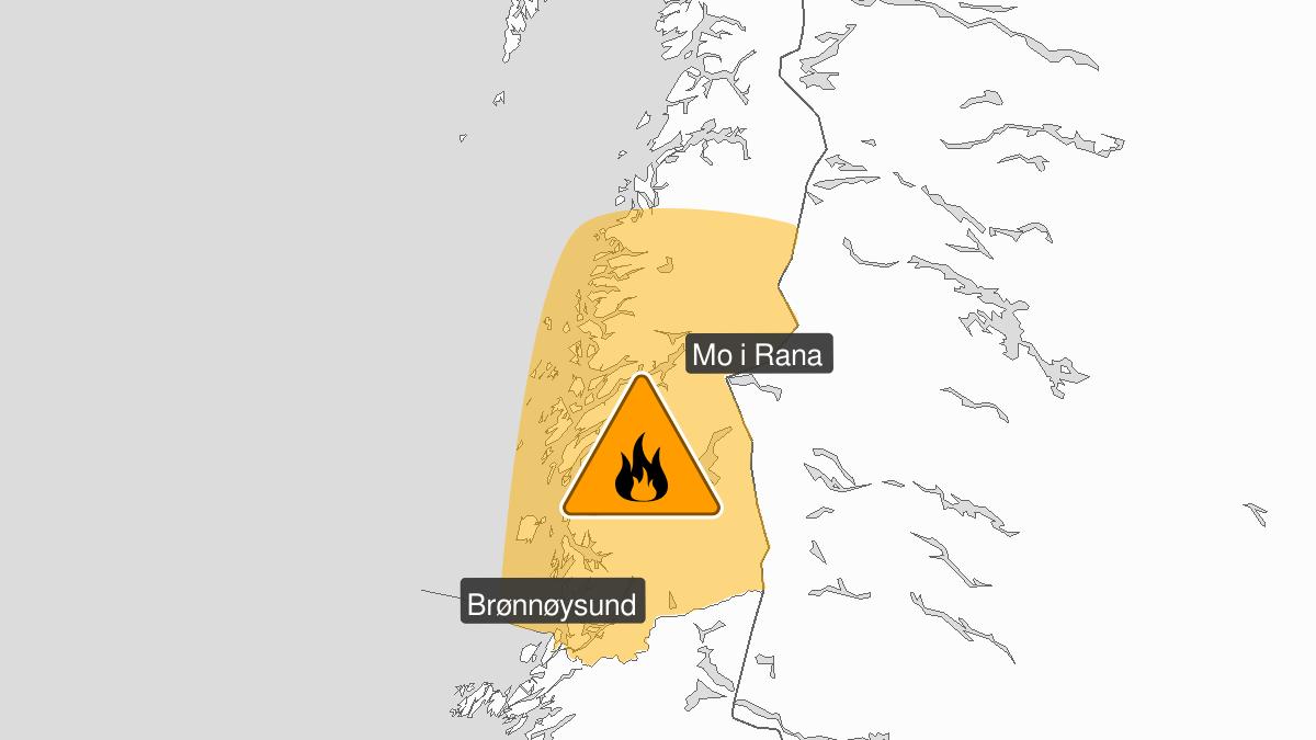 High forest fire danger, orange level, Helgeland, 12 August 09:00 UTC to 14 August 08:00 UTC.