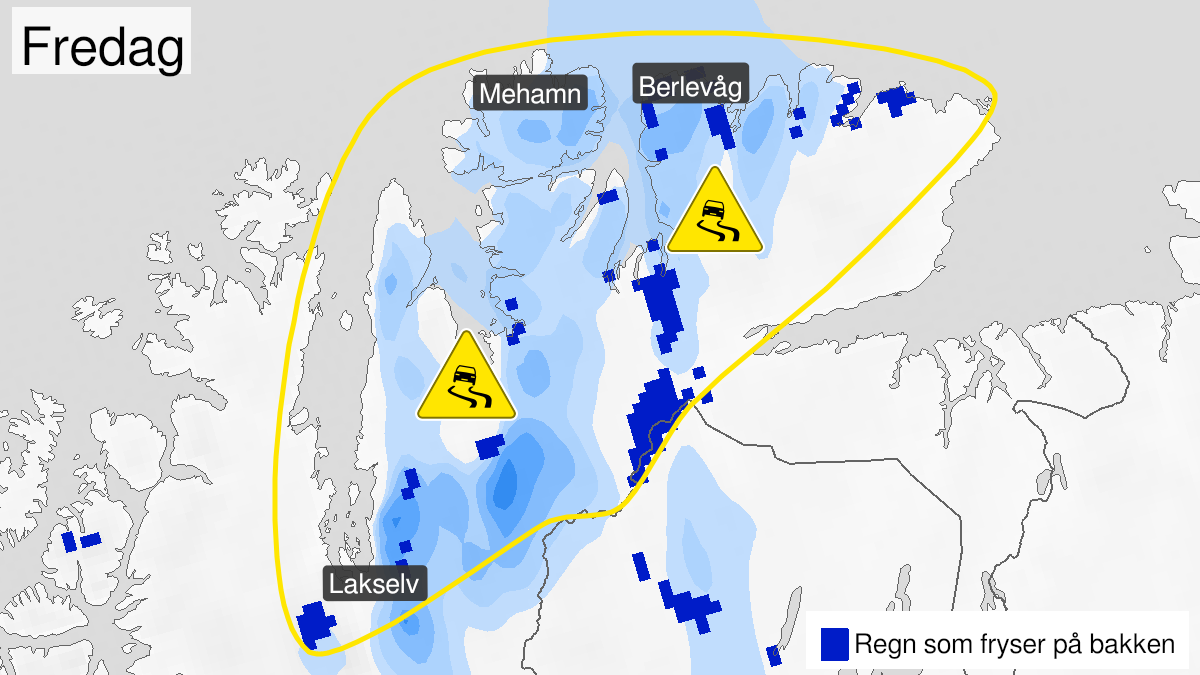 Kart over is, gult nivå, Øst-Finnmark, 24 February 10:00 UTC til 26 February 21:00 UTC.