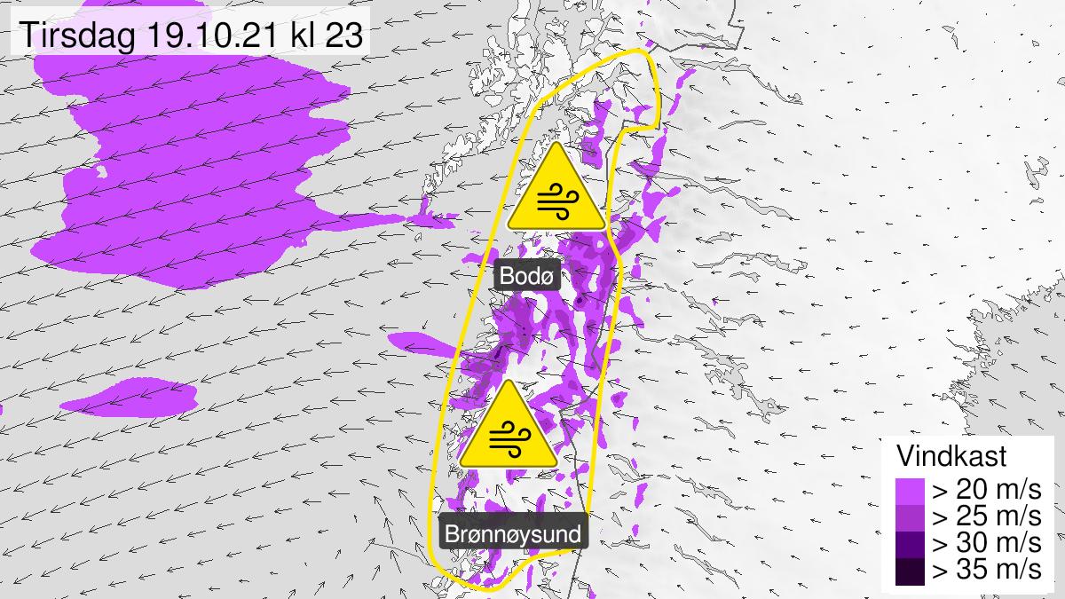Map of strong wind gusts, yellow level, Helgeland, Saltfjellet, Salten and Ofoten, 19 October 09:00 UTC to 20 October 12:00 UTC.