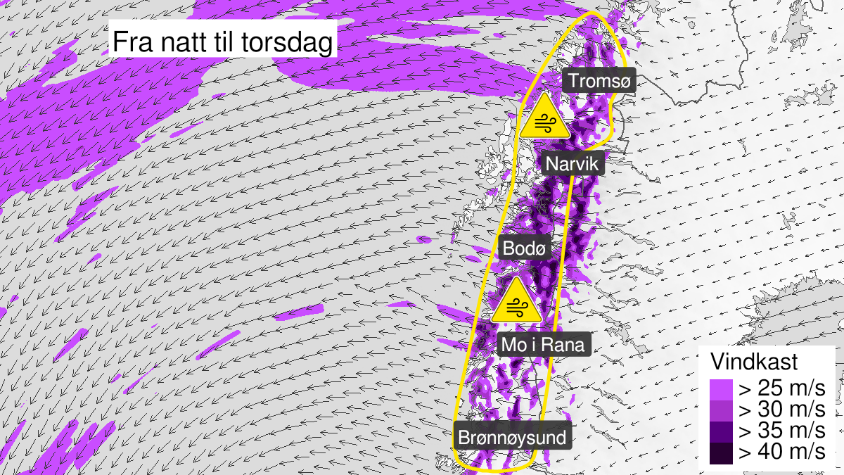 Map of strong wind gusts, yellow level, Helgeland, Saltfjellet, Salten, Ofoten og Troms, 21 January 00:00 UTC to 22 January 12:00 UTC.