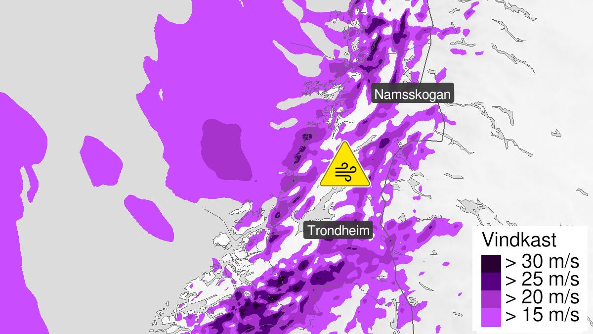 Kart over kraftige vindkast, gult nivå, Trøndelag, 27 September 12:00 UTC til 28 September 09:00 UTC.