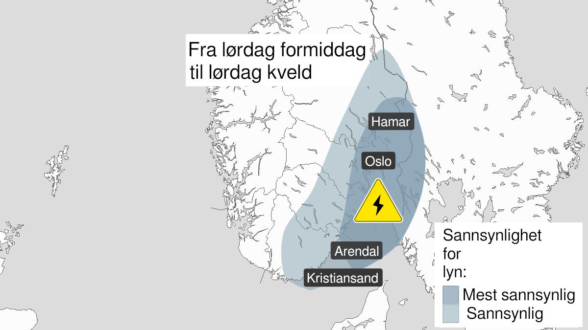 Kart over mye lyn, gult nivå, Østafjells, 19 June 10:00 UTC til 19 June 20:00 UTC.