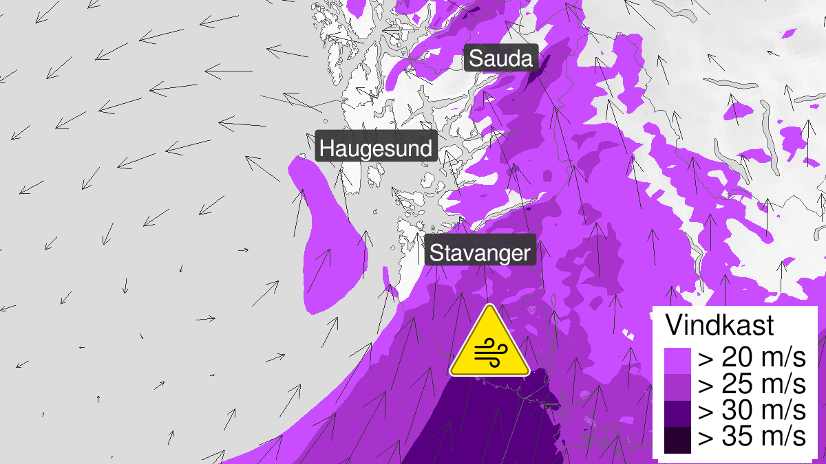 Map of strong wind gusts, yellow level, Rogaland, 21 January 13:00 UTC to 21 January 18:00 UTC.