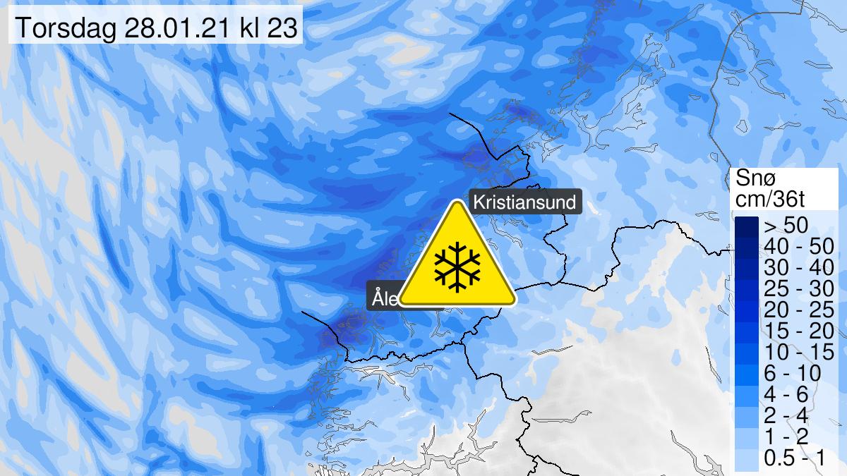 Kart over snø, gult nivå, Møre og Romsdal, 27 January 18:00 UTC til 28 January 23:00 UTC.