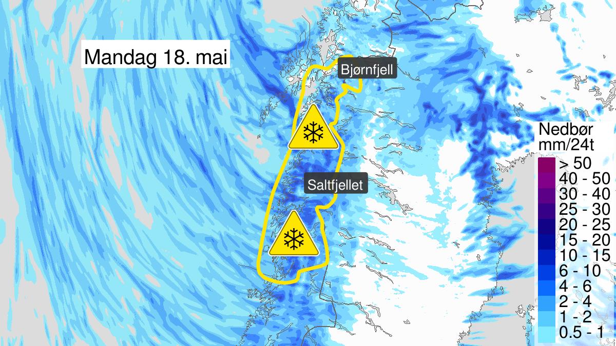 Map of heavy snow, yellow level, Helgeland, Saltfjellet, Salten and Ofoten, 18 May 01:00 UTC to 19 May 06:00 UTC.