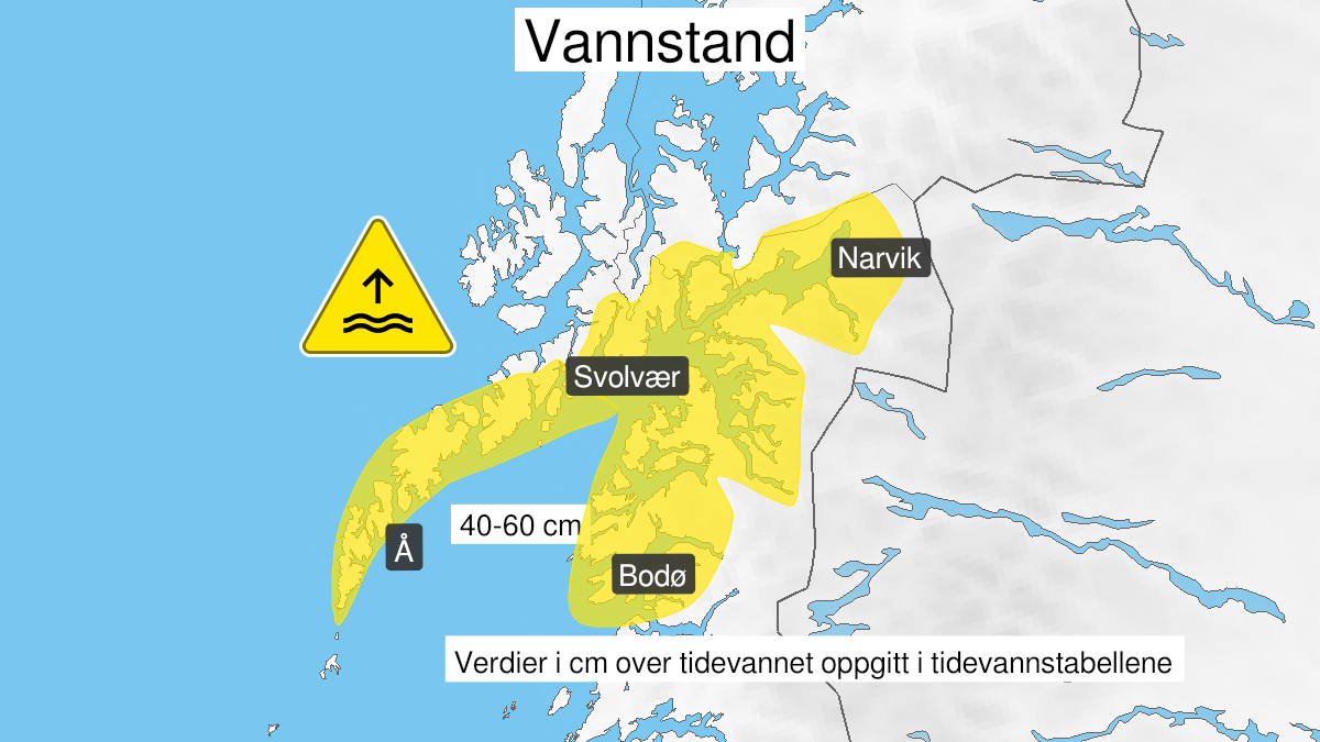 Map of high water level, yellow level, Salten, Ofoten and Lofoten, 21 September 12:00 UTC to 21 September 16:00 UTC.
