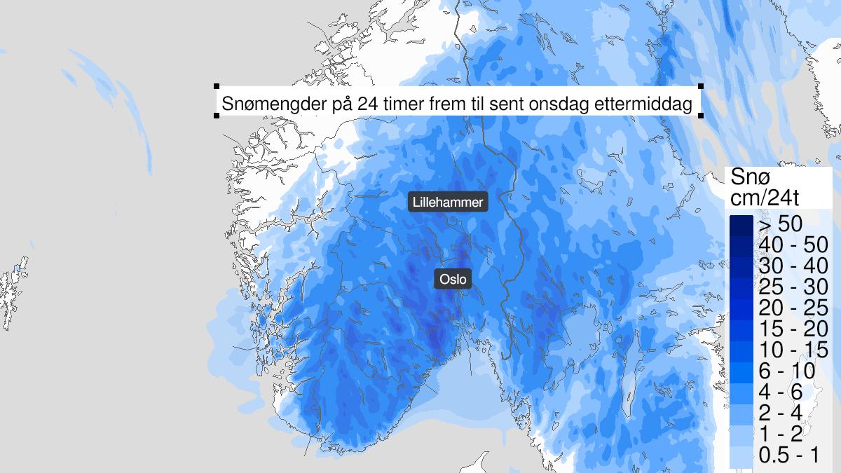 Kart over snø, gult nivå, Oppland og Hedmark, Akershus, Oslo, Telemark og Buskerud og Vestfold, 19 January 15:00 UTC til 20 January 19:00 UTC.