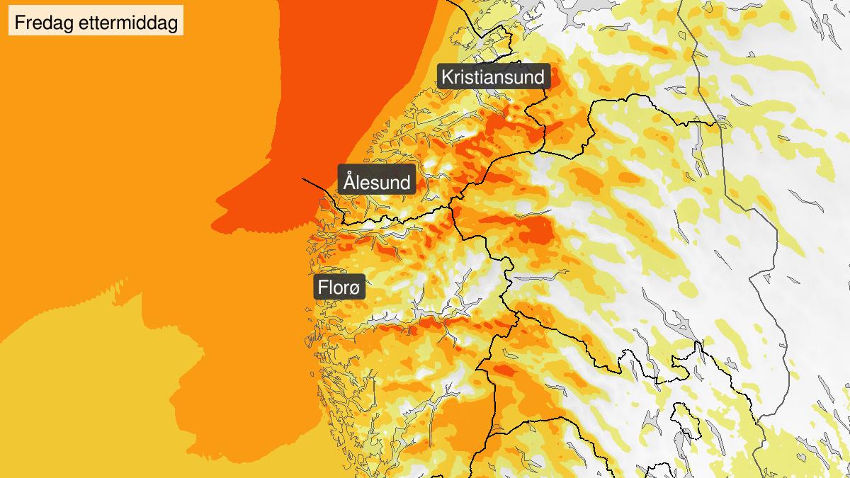 Kraftige vindkast, gult nivå, Møre og Romsdal, 21 February 12:00 UTC til 22 February 17:00 UTC.