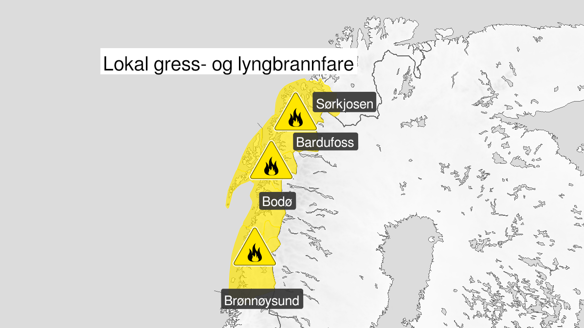 Map of forest fire danger, yellow level, Helgeland, Salten, Ofoten, Lofoten, Vesteraalen, Sør-Troms and Nord-Troms, 15 May 09:00 UTC to 19 May 22:00 UTC.