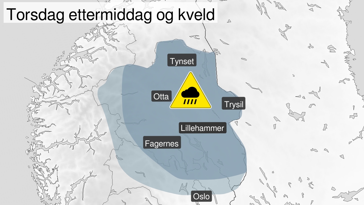 Map of heavy rainshowers, yellow level, Oestlandet and Telemark, 13 August 10:00 UTC to 13 August 22:00 UTC.