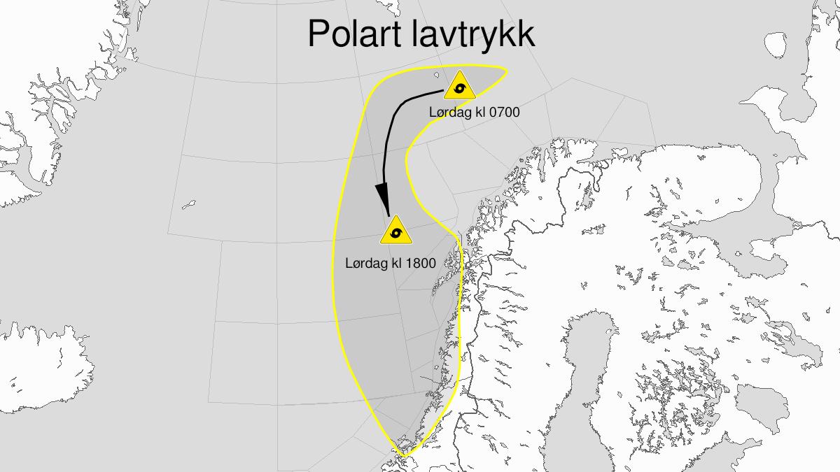 Kart over polart lavtrykk, gult nivå, C5, C4, C3, D3, Dype D4, E3, Dype E4, F3, Vesterålsbankene, Røstbanken, Trænabanken, Sklinnabanken, Haltenbanken og Frøyabanken og Helgeland, Salten, Nord-Trøndelag, Lofoten, Vesterålen og Sør-Trøndelag, 06 March 06:00 UTC til 07 March 03:00 UTC.