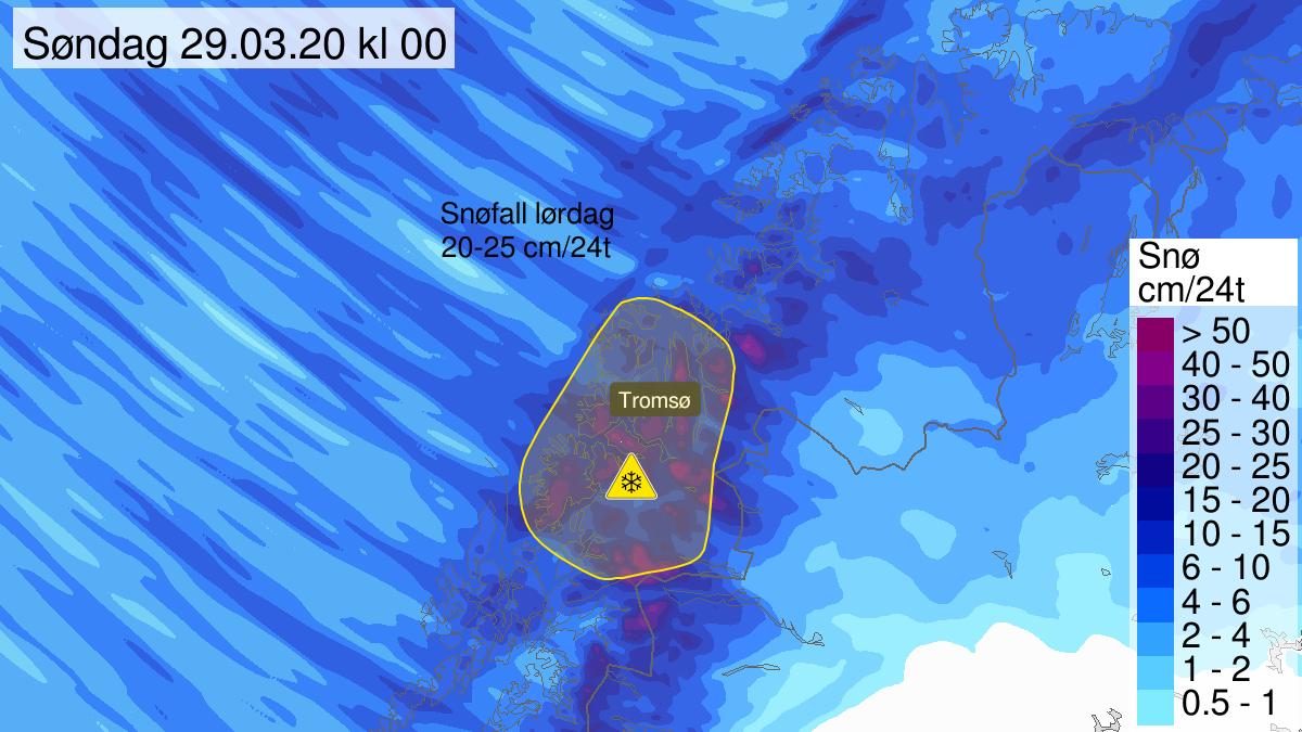 Kart over mye snø pågår, gult nivå, Troms, 28 March 12:00 UTC til 29 March 23:00 UTC.