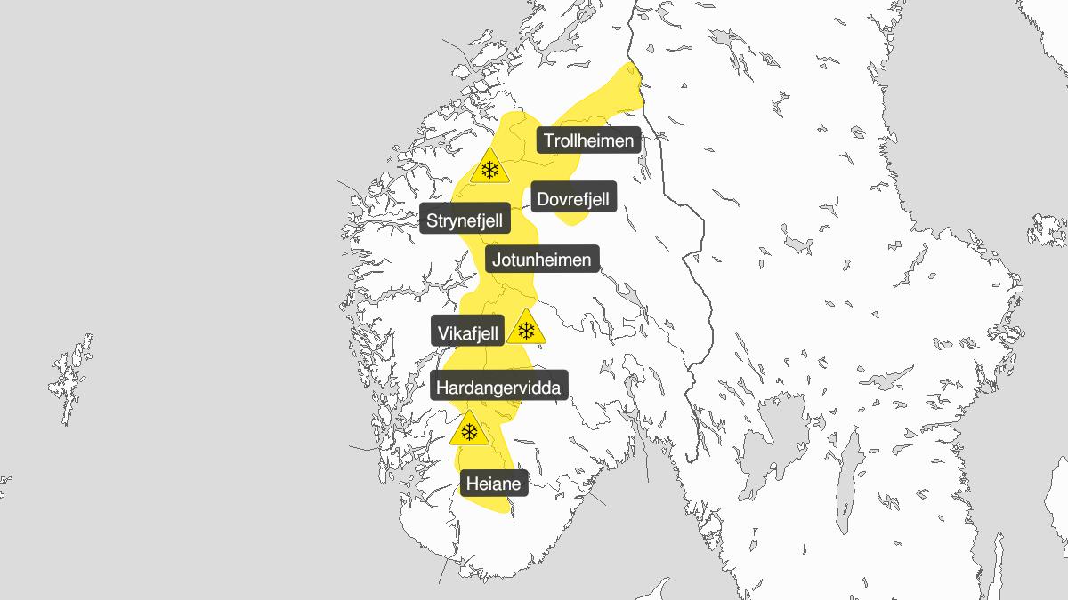 Kart over snø, gult nivå, Fjellet i Sør-Norge, 20 April 20:00 UTC til 21 April 20:00 UTC.