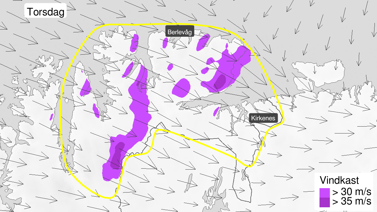 Map of strong wind gusts, yellow level, Øst-Finnmark, 14 May 09:00 UTC to 15 May 00:00 UTC.