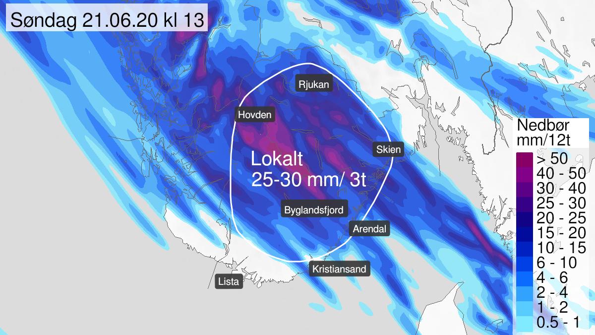 Kart over styrtregn, gult nivå, Telemark og Agder, 20 June 18:00 UTC til 21 June 12:00 UTC.