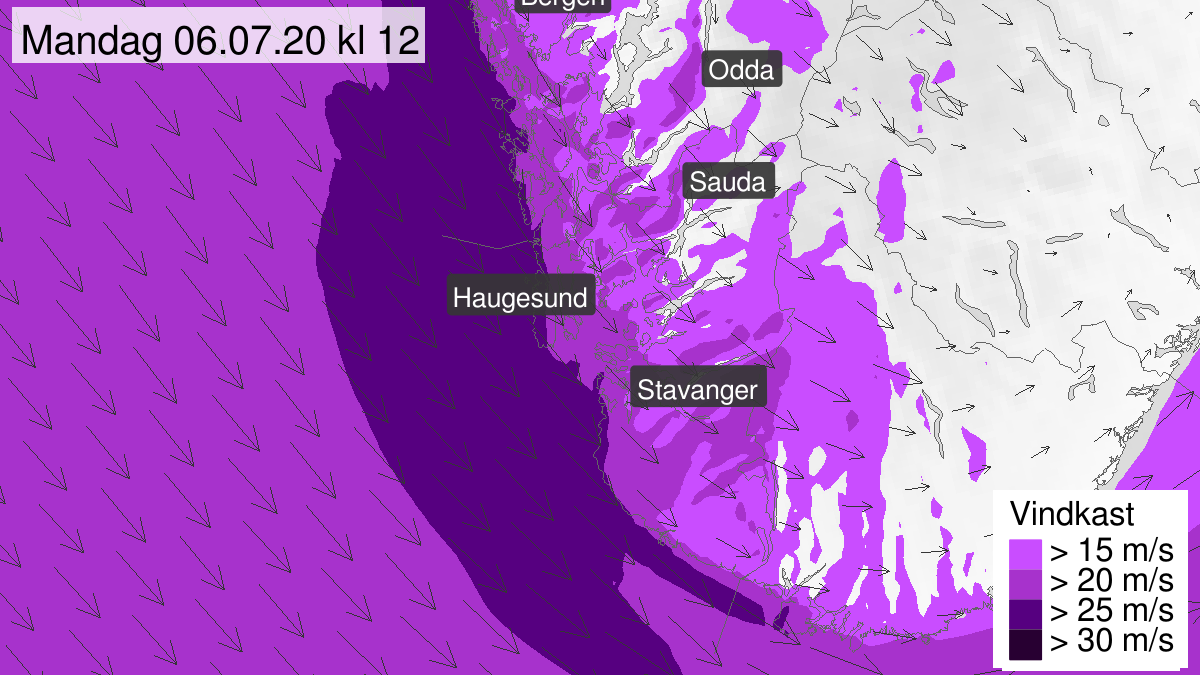 Map of strong wind gusts, yellow level, Rogaland, 06 July 08:00 UTC to 06 July 14:00 UTC.