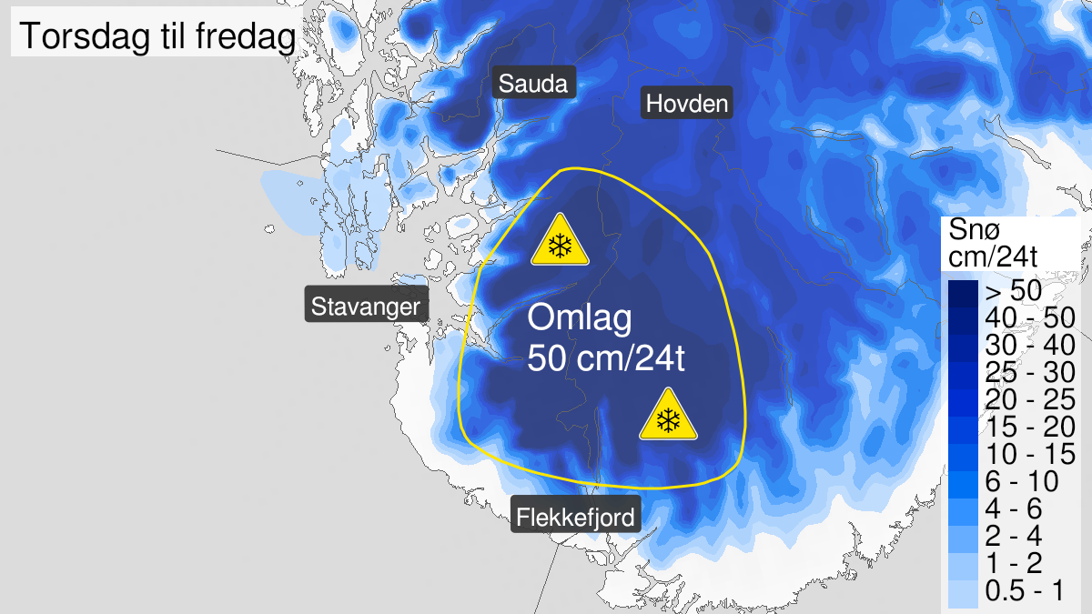 Kart over snø, gult nivå, Vest-Agder og Rogaland, 21 January 14:00 UTC til 22 January 11:00 UTC.