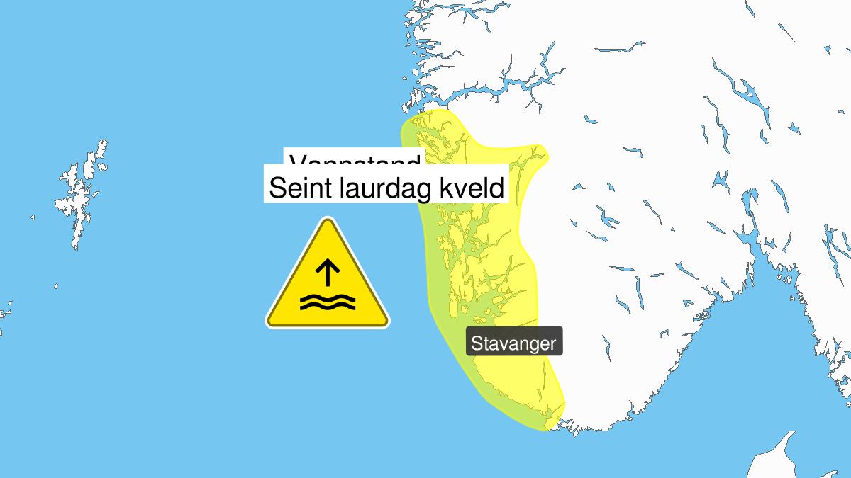 Høy vannstand, gult nivå, Rogaland og Hordaland, 22 February 20:00 UTC til 23 February 00:00 UTC.