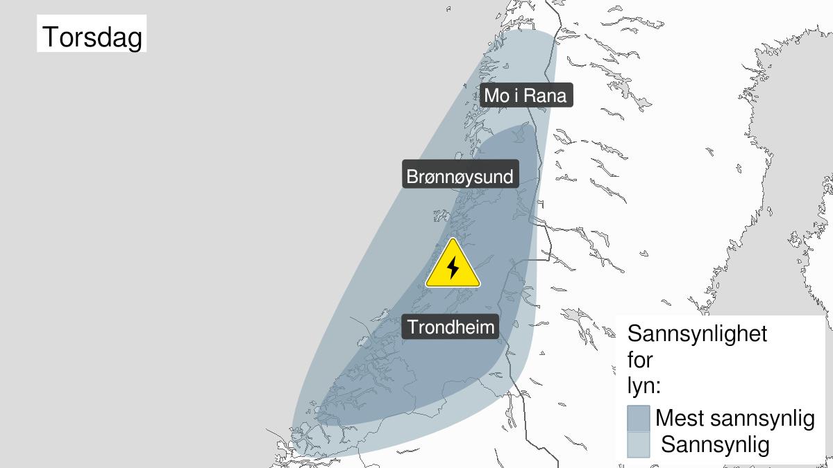 Kart over mye lyn pågår, gult nivå, Møre og Romsdal og Trøndelag og Helgeland, 29 July 10:00 UTC til 29 July 22:00 UTC.