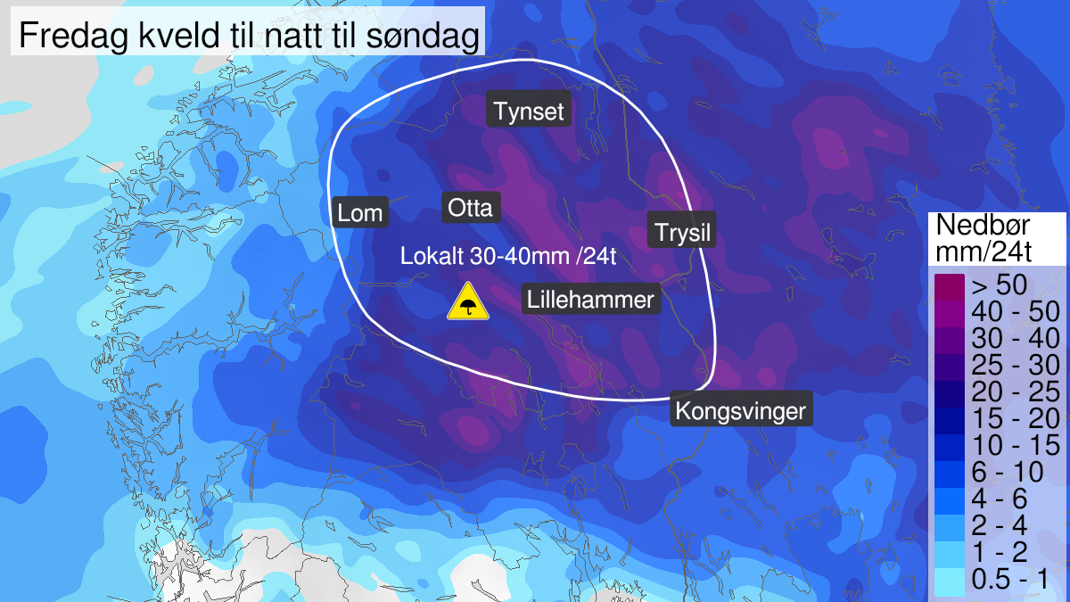 Map of heavy rain, yellow level, Innlandet fylke, 05 June 18:00 UTC to 07 June 04:00 UTC.