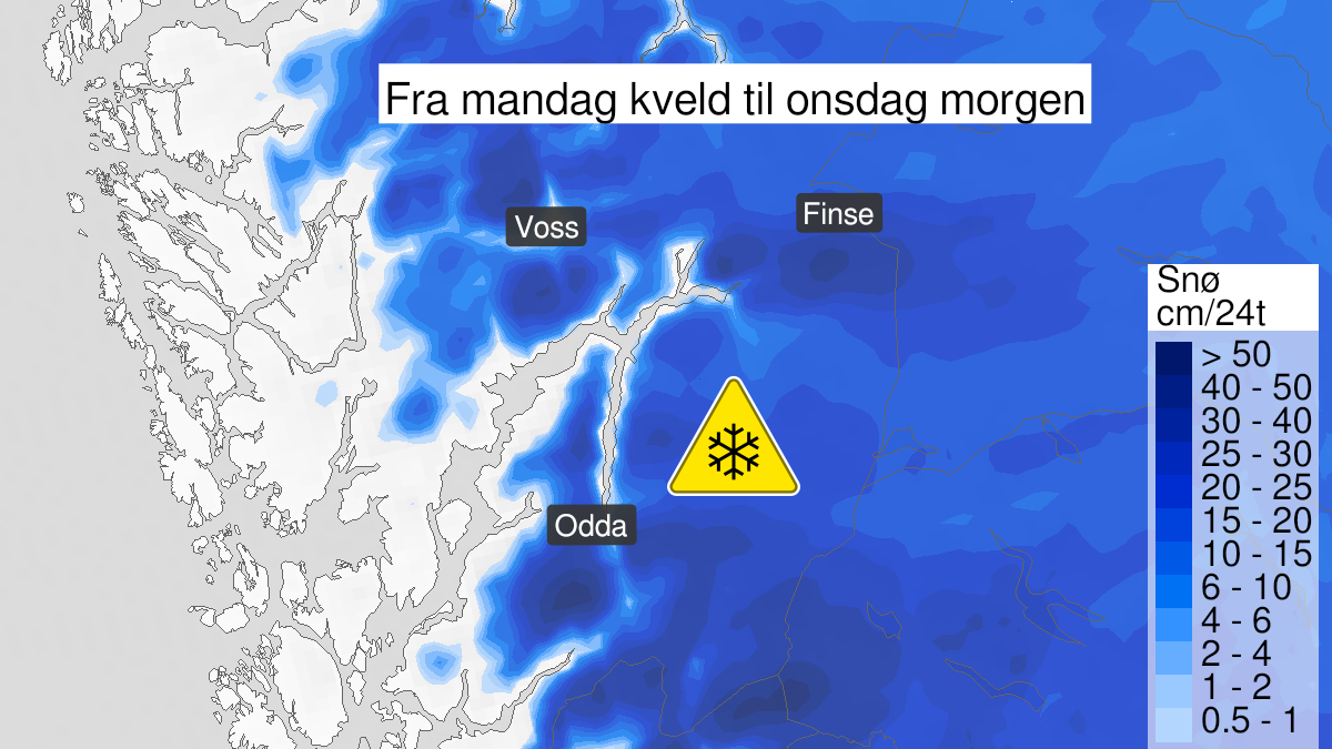 Map of snow, yellow level, Hordaland, øst for 06° Ø, 19 October 15:00 UTC to 21 October 06:00 UTC.