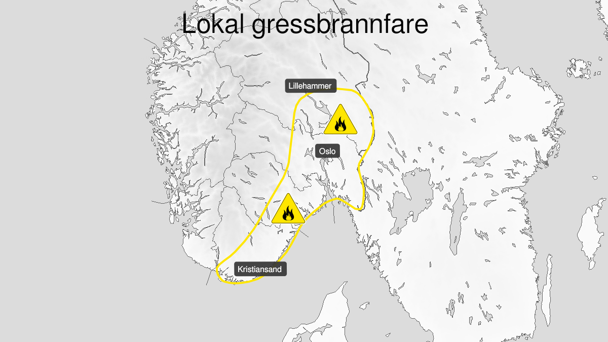 Map of forest fire danger, yellow level, Oestafjells, 16 April 08:00 UTC to 20 April 12:00 UTC.