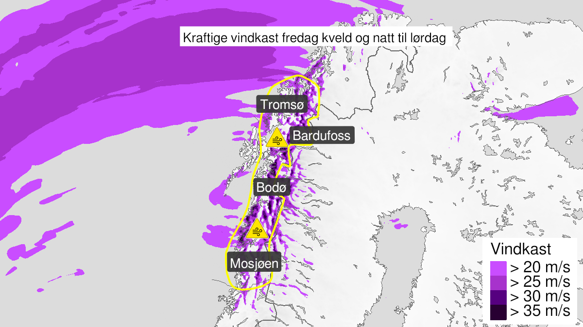 Map of strong wind gusts, yellow level, Helgeland, Saltfjellet, Salten, Ofoten og Troms, 22 January 17:00 UTC to 23 January 05:00 UTC.